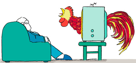 Rooster crowing through television at sleeping businessman