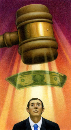Large gavel and dollar above businessman's head
