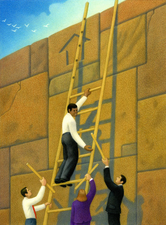 Business people handing businessman rungs to build ladder