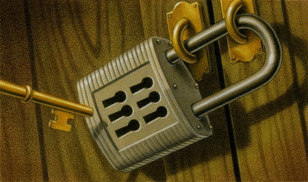 Key approaching padlock with six keyholes
