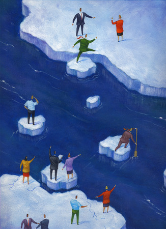 Business people crossing river on ice chunks