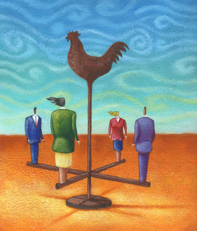 Business people standing on arms of weathervane