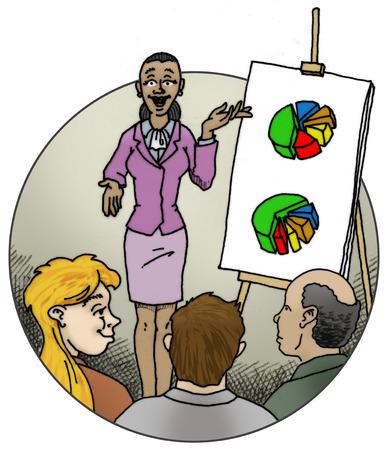 Businesswoman presenting pie charts