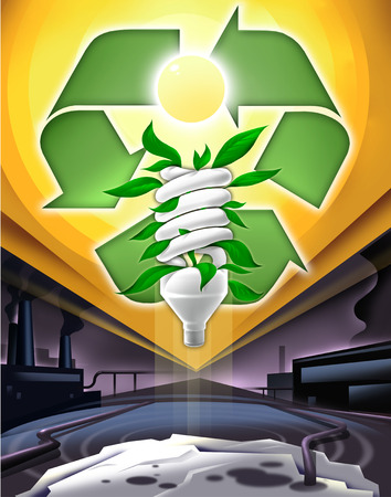 Compact fluorescent light bulb and recycling symbol above factory