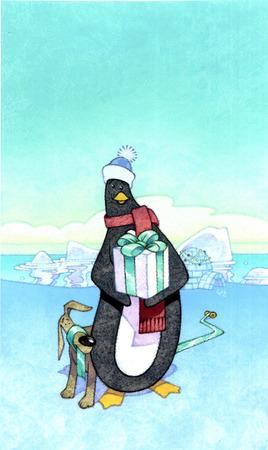 Penguin holding Christmas gift