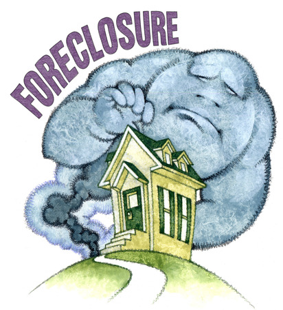 Cloud with 'foreclosure' text looming over house