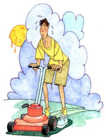 Sweating man mowing lawn