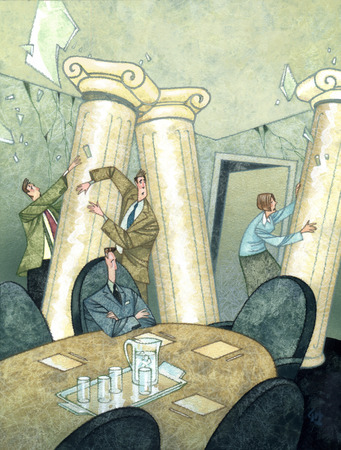 Business people holding up falling pillars in conference room