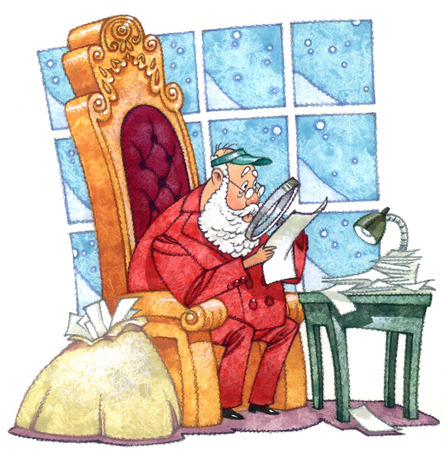 Santa Claus reading papers with magnifying glass
