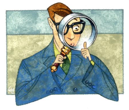 Businessman examining thumb through magnifying glass