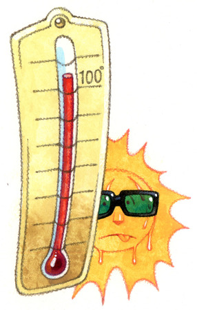 Thermometer next to sweating sun