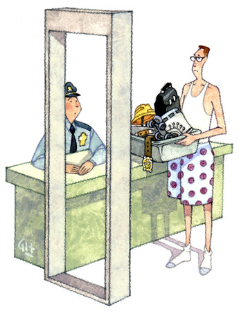 Man in boxer shorts holding belongings at metal detector