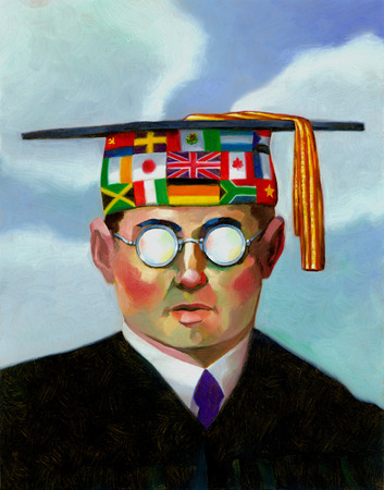 Male graduate with mortarboard covered in international flags