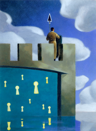 Businessman with cursor sword standing on castle with keyholes
