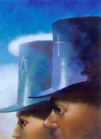 Men wearing top hats with Christian cross and Star of David