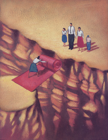 Woman bridging gap in cliff to family with red carpet