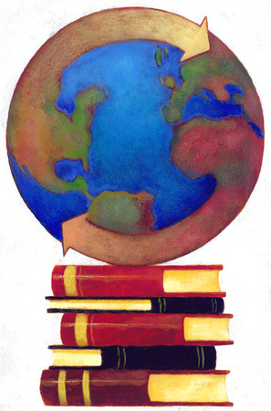 Globe encircled by arrows on stack of books