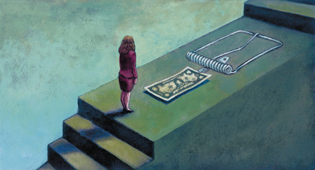 Businesswoman looking at money attached to mousetrap