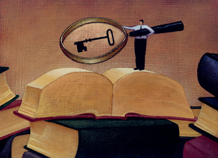 Man holding magnifying glass revealing key over large book