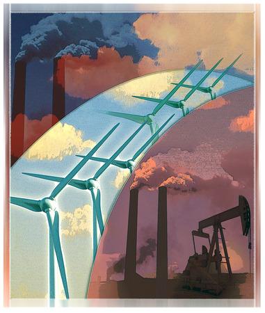 Wind turbines, smokestacks and oil rig