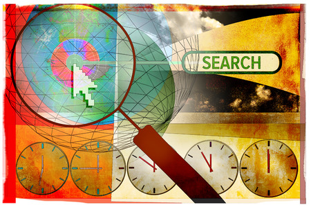 Magnifying glass, cursor, clocks and 'search' text