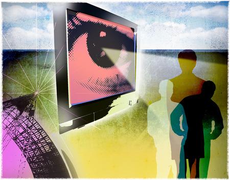 Eye on television illuminating people