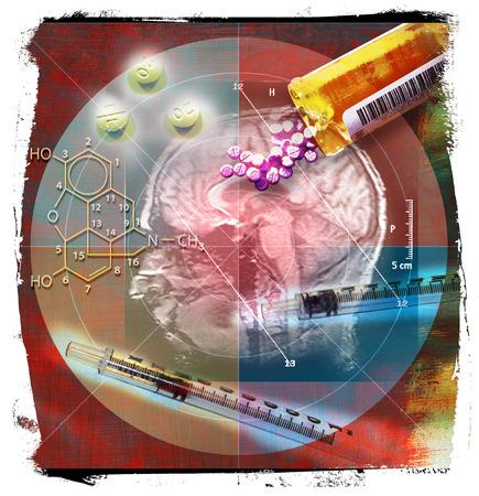 Prescription medication and chemistry symbols covering brain