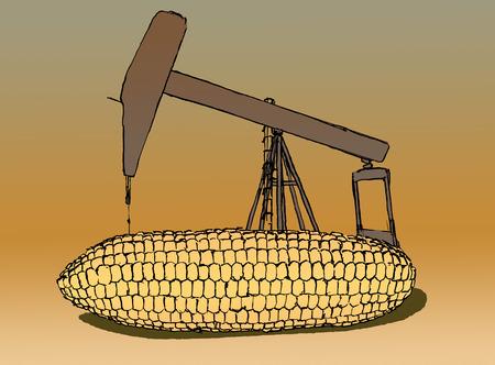 Nodding donkey drilling into large ear of corn