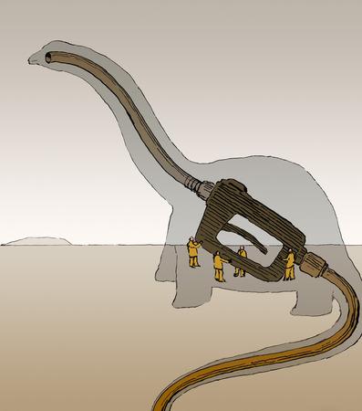 Dinosaur formed by gas pump