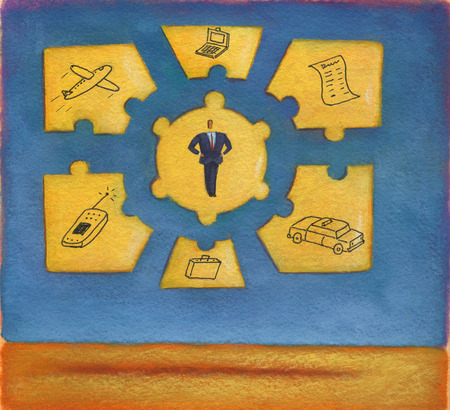 Businessman surrounded by technology and travel puzzle pieces