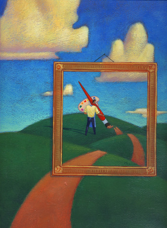 Man in picture frame painting path