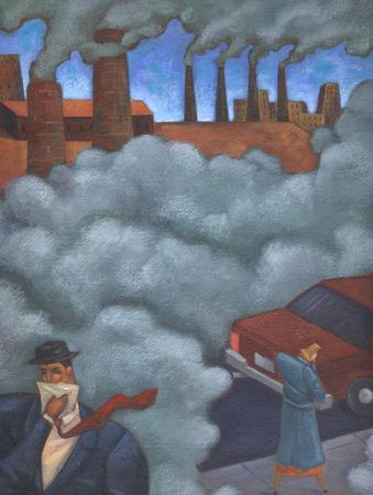 Pollution smoke filling urban street