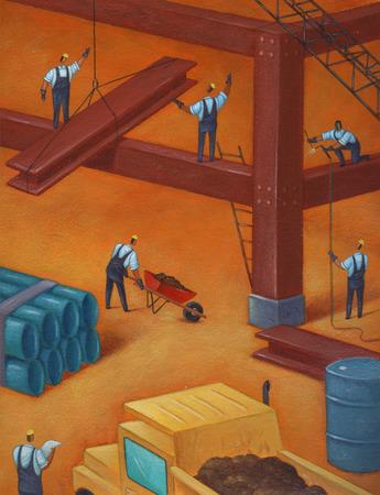 Construction workers placing steel girders