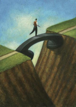 Businessman crossing telephone receiver over gap