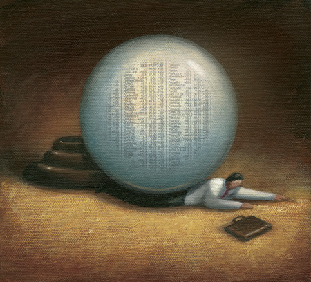 Businessman under crystal ball with stock information