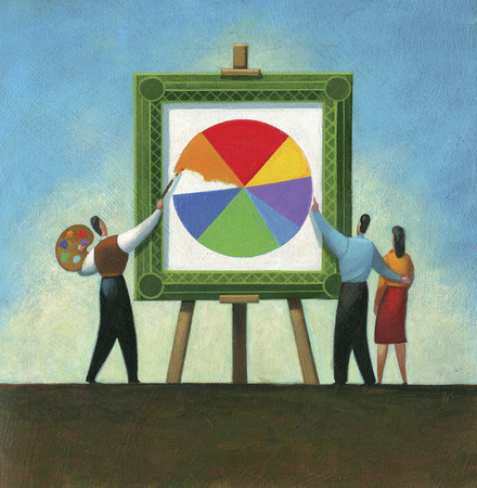 Couple watching man paint pie chart