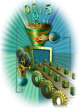 Numbers being funneled into binary code onto conveyor belt