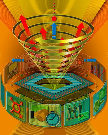 Technology and business symbols surrounding funnel of arrows