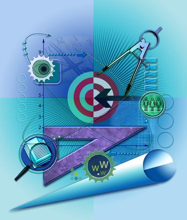 Data and technology symbols surrounding bull's-eye