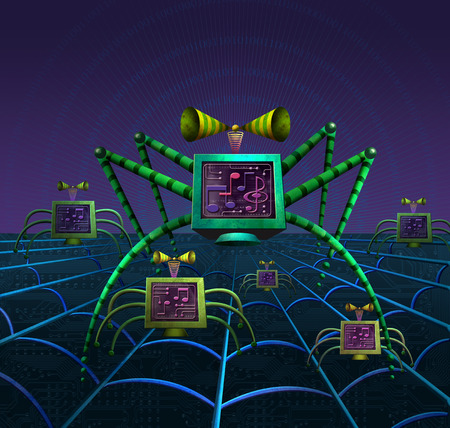 Computer images forming spider on spiderweb