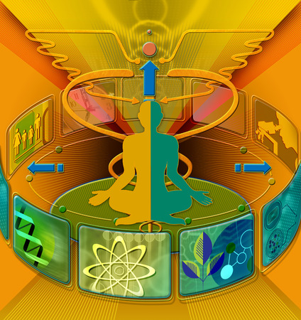 Man surrounded by science symbols
