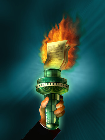Hand holding torch of burning documents