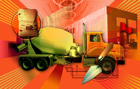 Cement mixer truck at construction site