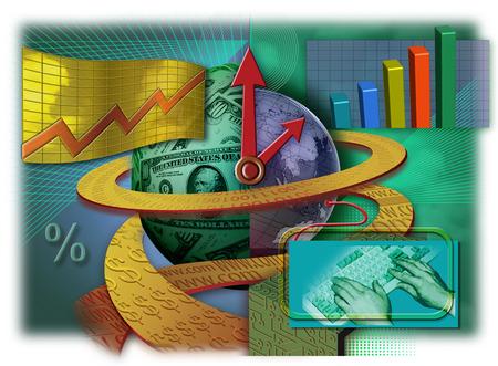 Economy and technology symbols surrounding globe
