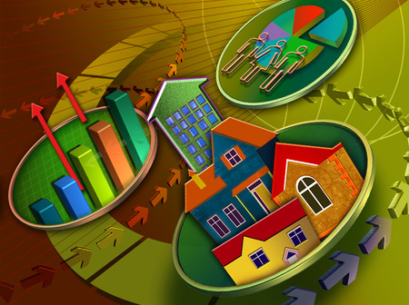 Arrows surrounding economy and housing symbols