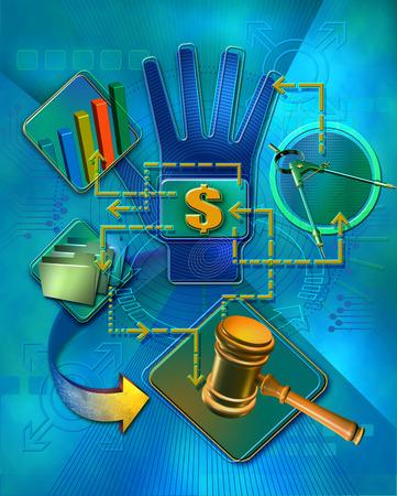 Data, money, legal and technology symbols