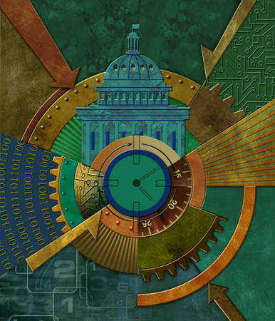 Cog with government and technology symbols
