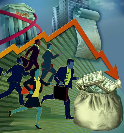 Business people running under descending market arrow