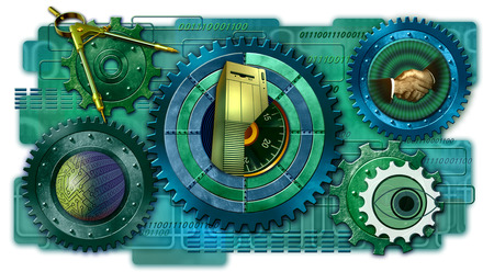 Cogs, technology, and security symbols