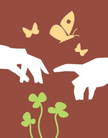 Hands among butterflies and clovers